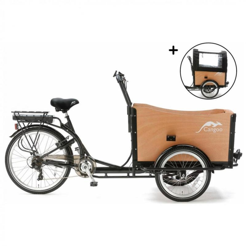 Bakfiets Popal Cangoo Travel 6 Speed elektrisch 470Wh zwart/naturel