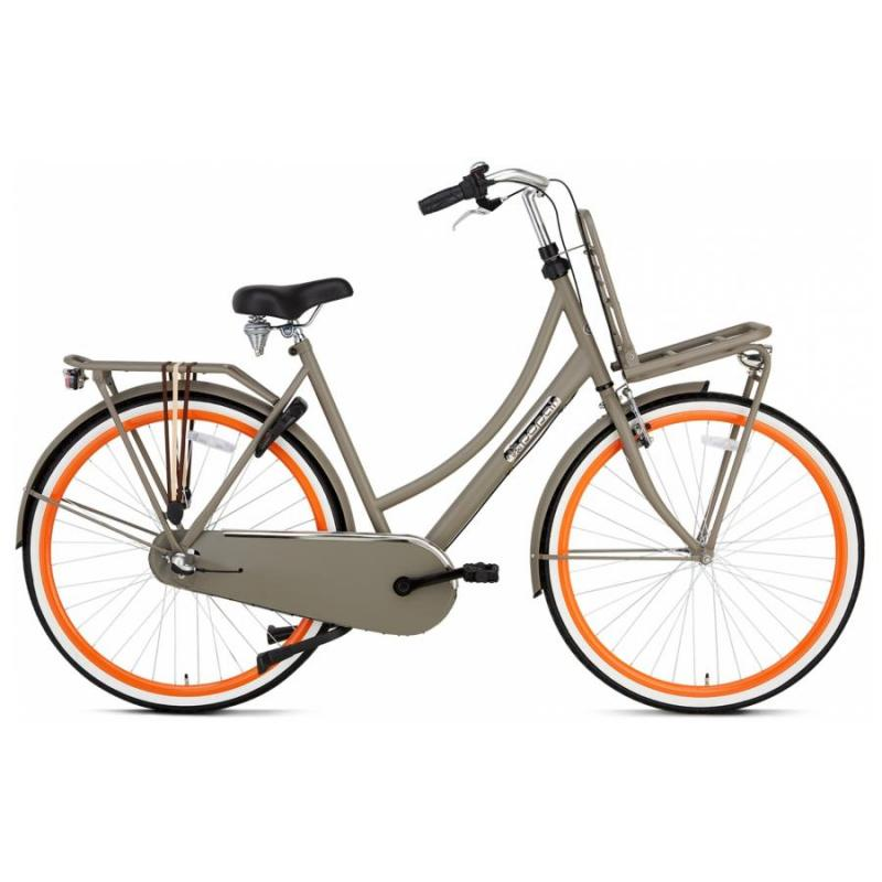 28 inch Popal Daily Dutch Plus 3 Speed grijs/oranje dames (57cm)