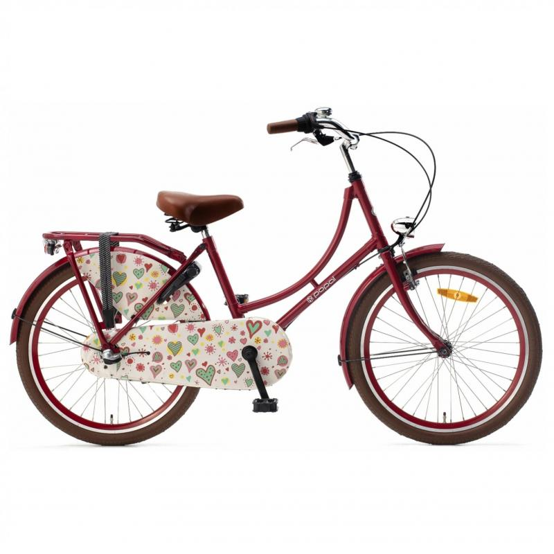 22 inch Popal Omafiets 3 Speed rood dames