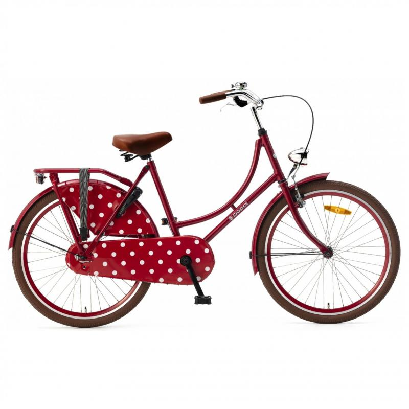 24 inch Popal Omafiets 3 Speed rood dames
