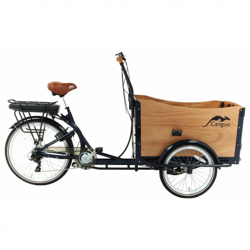 Bakfiets Popal Cangoo Travel 6 Speed elektrisch 470Wh blauw/naturel