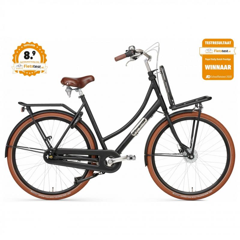 28 inch Popal Daily Dutch Prestige 7 Speed mat-zwart dames (57cm)