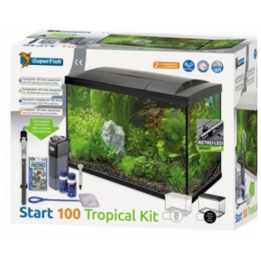 Aquarium set Superfish Start 100 Tropical Kit 100 liter zwart